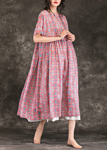 Italian red floral linen clothes top quality Online Shopping o neck large hem Maxi Summer Dresses