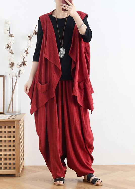 Italian v neck asymmetric linen summer shirts Outfits red shirt