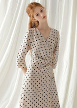 Load image into Gallery viewer, Italian v neck chiffon dresses Fabrics nude dotted Maxi Dresses fall
