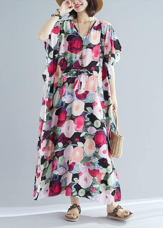 Italian v neck drawstring clothes For Women short Sleeve floral robes Dress summer