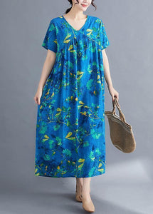 Italian v neck wrinkled linen Wardrobes pattern blue print Dresses summer