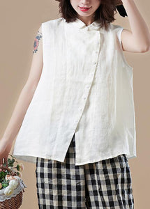 Italian white cotton Shirts Vintage Shape Peter pan Collar Sleeveless short Summer top
