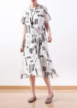 Load image into Gallery viewer, Italian white prints linen dresses asymmetric loose summer Dress