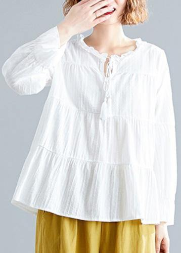Italian white v neck cotton linen tops women blouses patchwork daily fall blouse