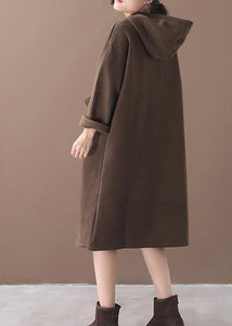Italian winter cotton hooded tunics for women linen chocolate long Dress
