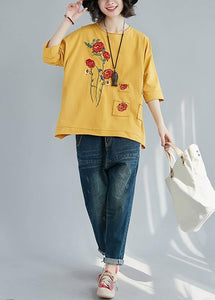 Italian yellow cotton clothes For Women boutique Outfits o neck patchwork tunic Summer