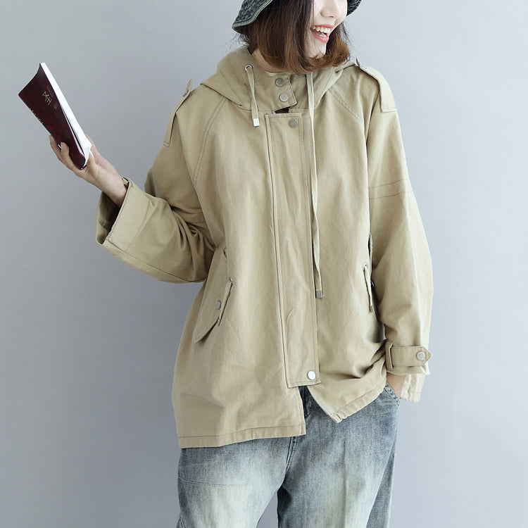 Khaki oversized trench coats short hoodies wind breaker outwear