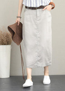 Khaki ramie mid-length skirt with elastic waist