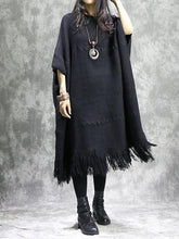 Load image into Gallery viewer, Knitted black Sweater dress outfit DIY o neck tassel Mujer sweater dress