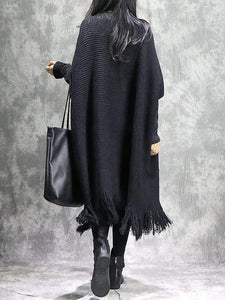 Knitted black Sweater dress outfit DIY o neck tassel Mujer sweater dress