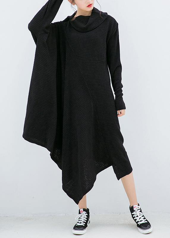 Knitted black Sweater dresses Design asymmetric Big high neck knitted tops