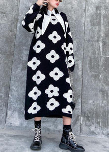 Knitted black print Sweater Aesthetic Women o neck baggy knit dress