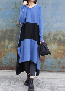 Knitted blue Sweater dress outfit DIY side open baggy low high design knit dress