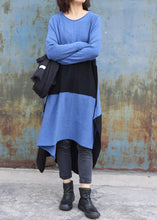 Load image into Gallery viewer, Knitted blue Sweater dress outfit DIY side open baggy low high design knit dress