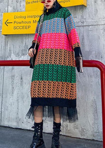 Knitted rainbow Sweater dress outfit Beautiful o neck spring sweater dress