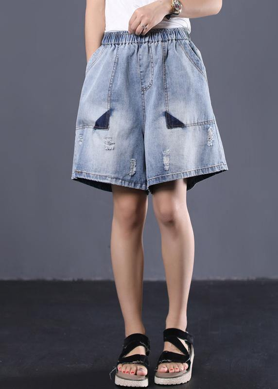 Korean version loose retro washed white Ming line denim shorts