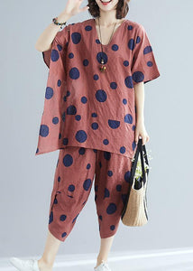 Korean version of cotton and linen women's brown dot print top + casual wide leg pants suit