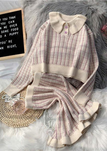 Korean version of short light purple sweater suit loose skirt two-piece suit