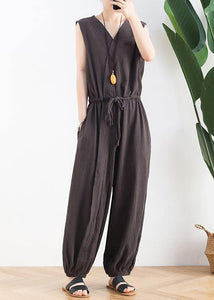 Korean version of the thin wide-leg jumpsuit female summer cotton and linen loose fashion chocolate nine points jumpsuit
