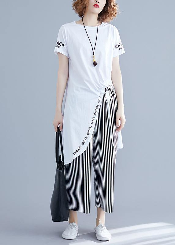 Korean women's short-sleeved T-shirt casual striped wide-leg pants suit