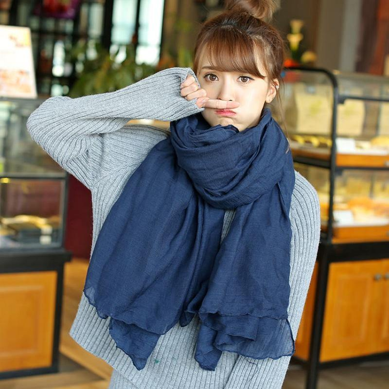 Large size navy scarf women's bib Korean style wild long shawl