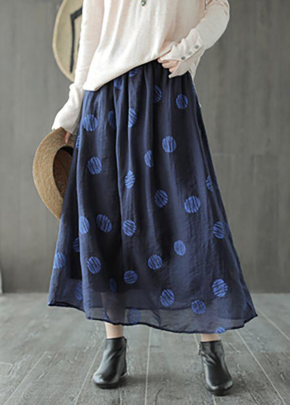 80f79e5c3a Linen Navy Blue Female Dots Skirt