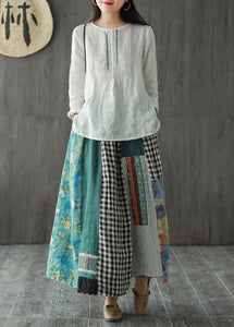 Linen contrast color stitching skirt female spring new retro literary loose elastic waist skirt
