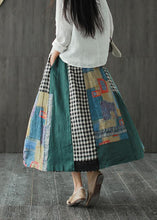 Load image into Gallery viewer, Linen contrast color stitching skirt female spring new retro literary loose elastic waist skirt
