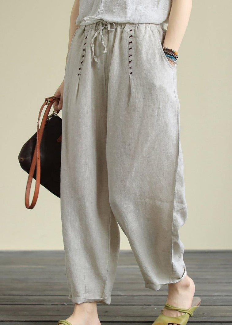 Literary Beige Large Size Elastic Waist Hemp Cropped Pants
