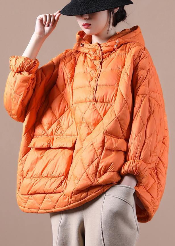 Literary Orange Half-open Pocket Hooded Pullover Short Overcoat