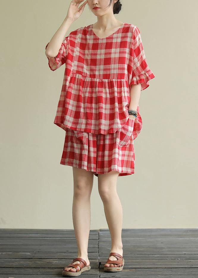 Literary loose round neck stitching top elastic red check pants suit