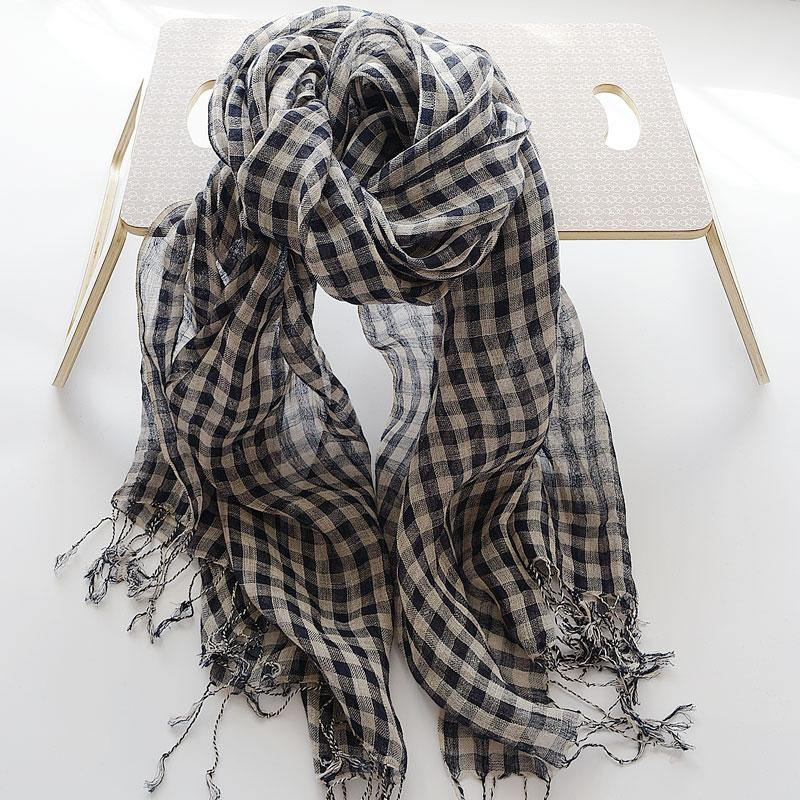 Literary navy small plaid French sunscreen female shawl tassel