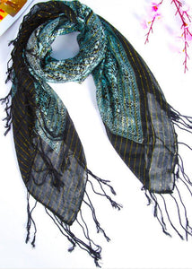 Literary new green retro gold silk scarf winter woven fringed thin windproof warm silk scarf