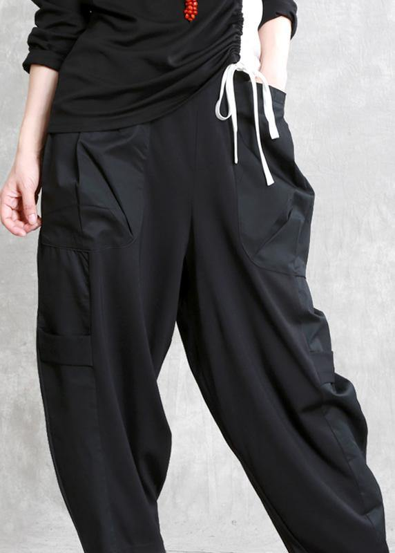 Literary personality wide-leg pants women solid spring loose casual pants