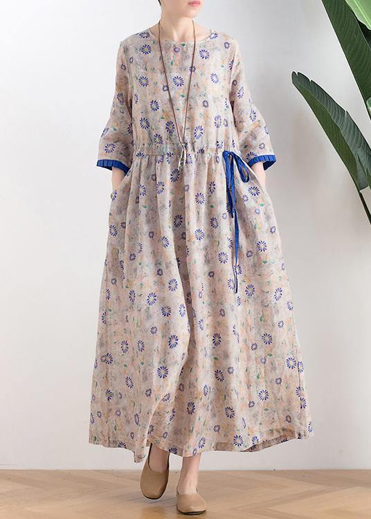 Literary small daisy mid-length dress waist slimming 2020 new ramie printed skirt