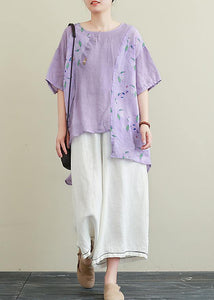 Literature and art ramie purple printed T-shirt female loose cotton and linen nine points wide leg pants two-piece suit