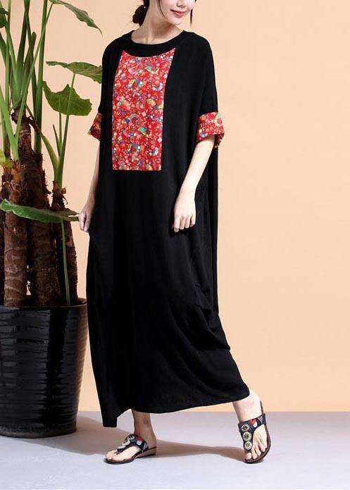 Loose Black Dresses O Neck Patchwork Cotton Robes Dress