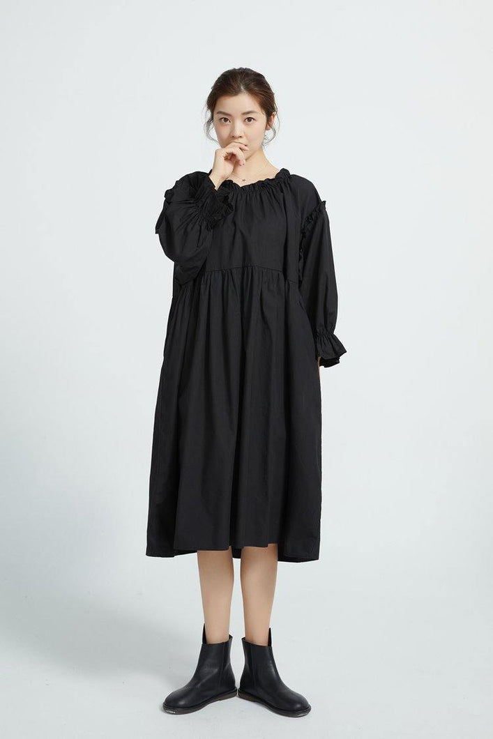 Loose Black cotton Tunics High Waist Loose Dress