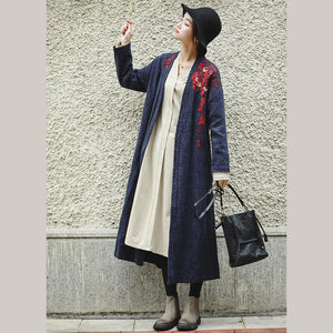 Loose Blue Embroidery Long side open Cotton Linen Coat For Women