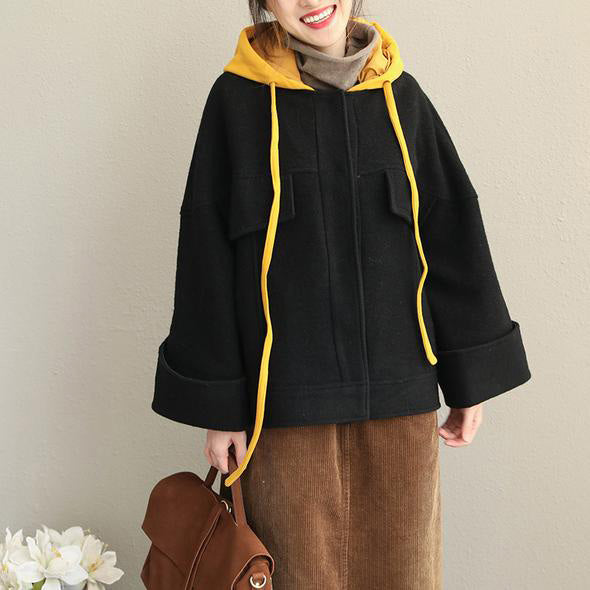 Loose Hoodie Black Fall Winter Short Woolen Coat Women Casual Jackets