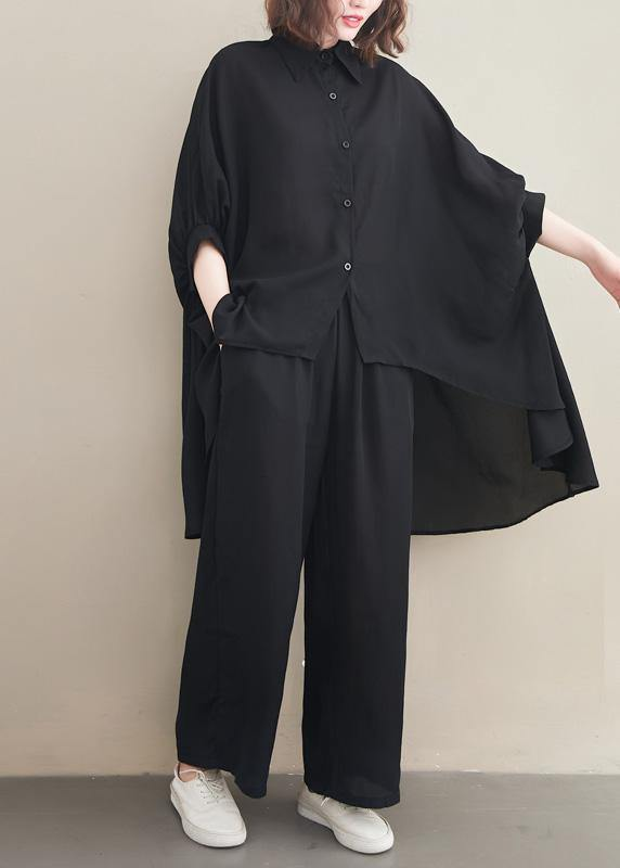 Loose Lapel Batwing Sleeve Spring Clothes Fabrics Black Tops