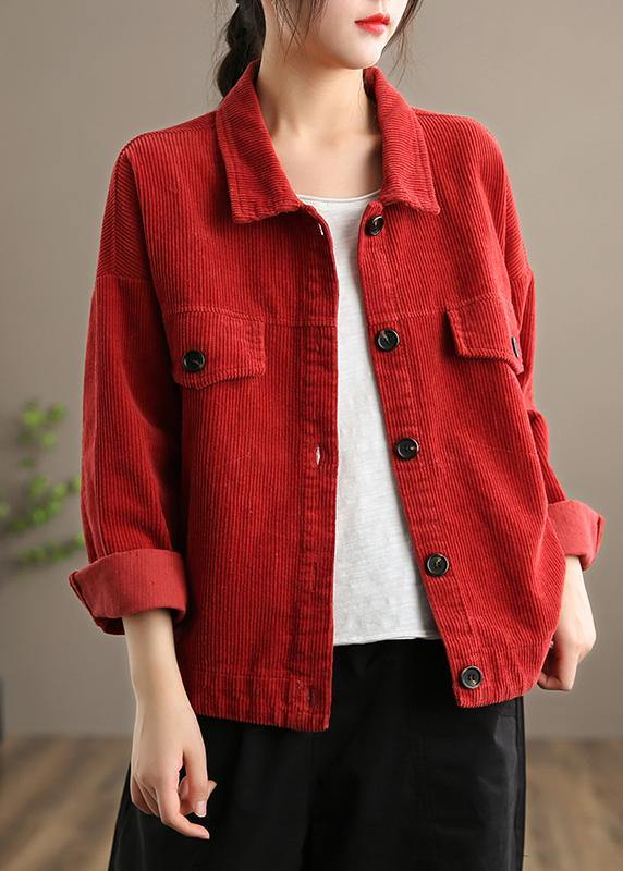 Loose Lapel Button Down Fine Coats Women Red Short jackets