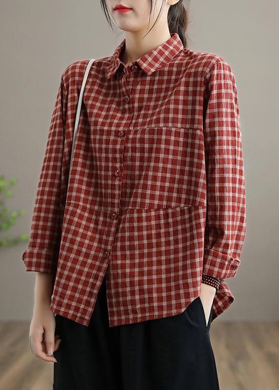 Loose Lapel Patchwork Spring Blouse Sleeve Red Plaid Top
