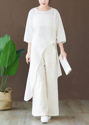 Loose O Neck Asymmetric Blouse Wardrobes White Shirts