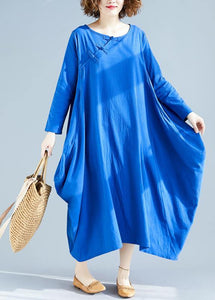 Loose O Neck Asymmetric Spring Wardrobes Fabrics Blue A Line Dress