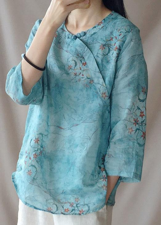 Loose O Neck Half Sleeve Shirts Blue Print Shirt