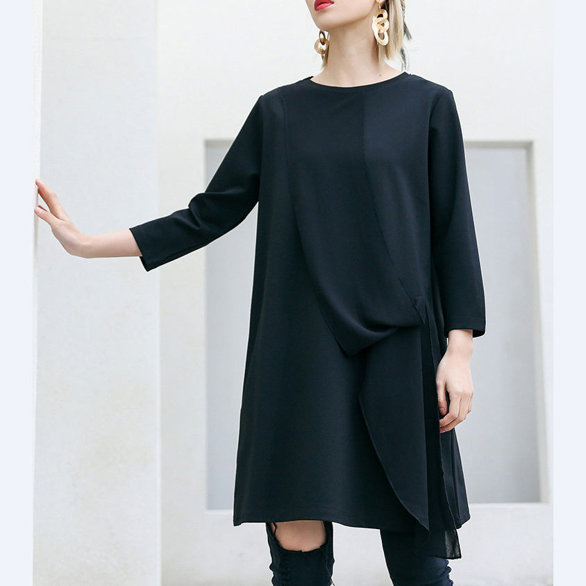 Loose Three Quarter sleeve Cotton Tunics Fun Tunic Tops black loose Dress