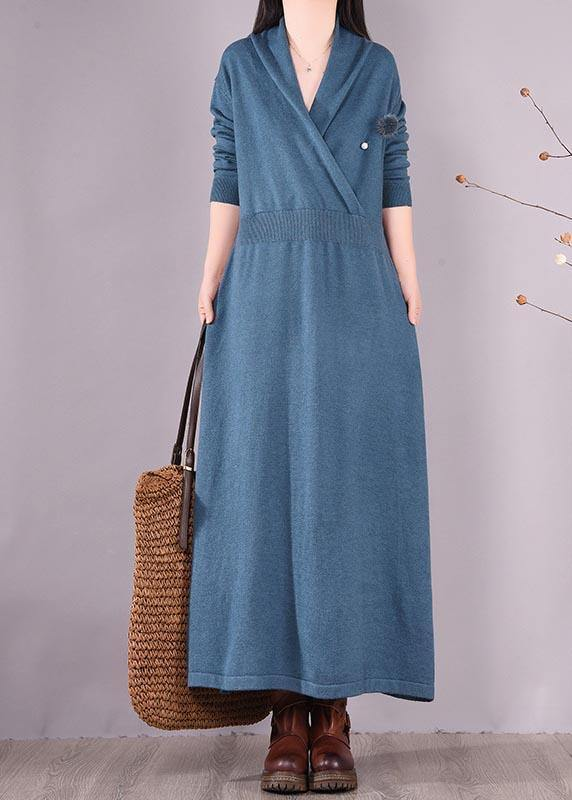 Loose V Neck Asymmetric Spring Quilting Clothes Work Blue Robes Dresses