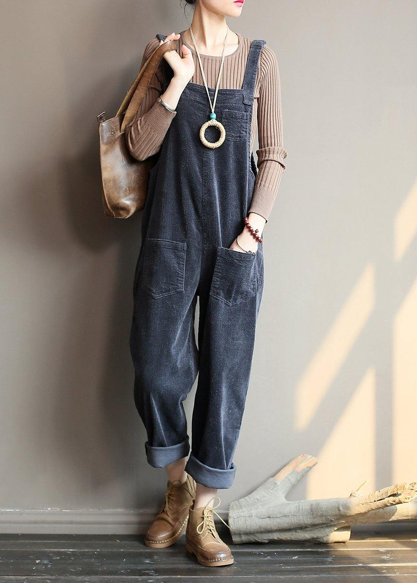 Loose and slim gray corduroy pants overalls college style forest jumpsuit
