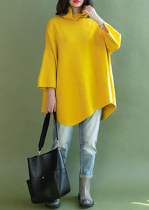 Loose asymmetric hem wool high neck clothes For Women Wardrobes yellow shirt